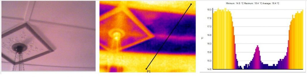 Thermal Camera, view of ceiling with cold area without insulation