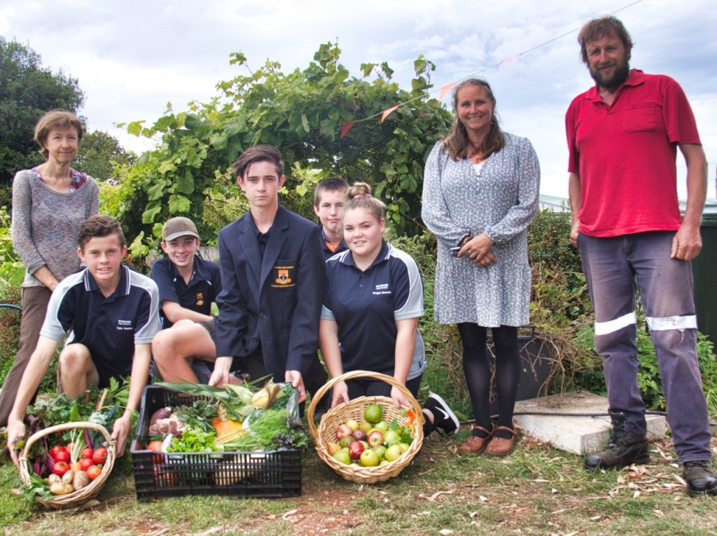Harvesting produce at Live Well Tasmania