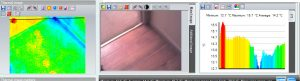 Thermal camera image showing dog footprints on a timber floor