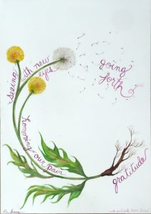 Dandelion with roots labelled gratitude, leaves honouring our pain, floweres seeing with new eyes and scattered seeds going forth